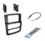 Double DIN Dash Kit for Dodge Ram 1500 2500 3500 2002 2003 2004 2005 Stereo Install Black with Wiring Harness and Antenna