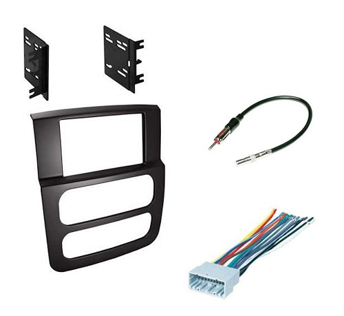 Double DIN Dash Kit for Dodge Ram 1500 2500 3500 2002 2003 2004 2005 Stereo Install Black with Wire Harness and Antenna