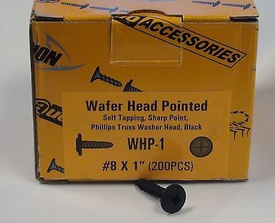 "1"" Self Tapping Sharp Point Wafer Head Pointed Screw Box Black x 200 #8"