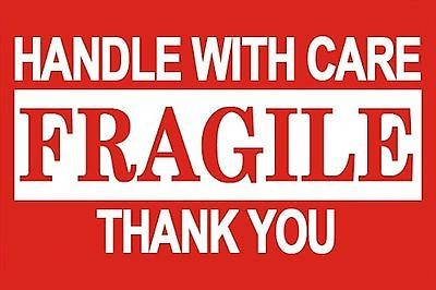 1000 3x5 FRAGILE Handle With Care Shipping Labels Red and White