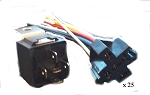 25 12V DC SPDT 30/40A Relay & Socket Harness 5 Wire 16-14 GA Gauge Plug End