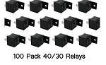 RELAY 100 PACK SPDT 12 VOLT 30/40 AMP HEAVY DUTY RELAY PLASTIC TABBED
